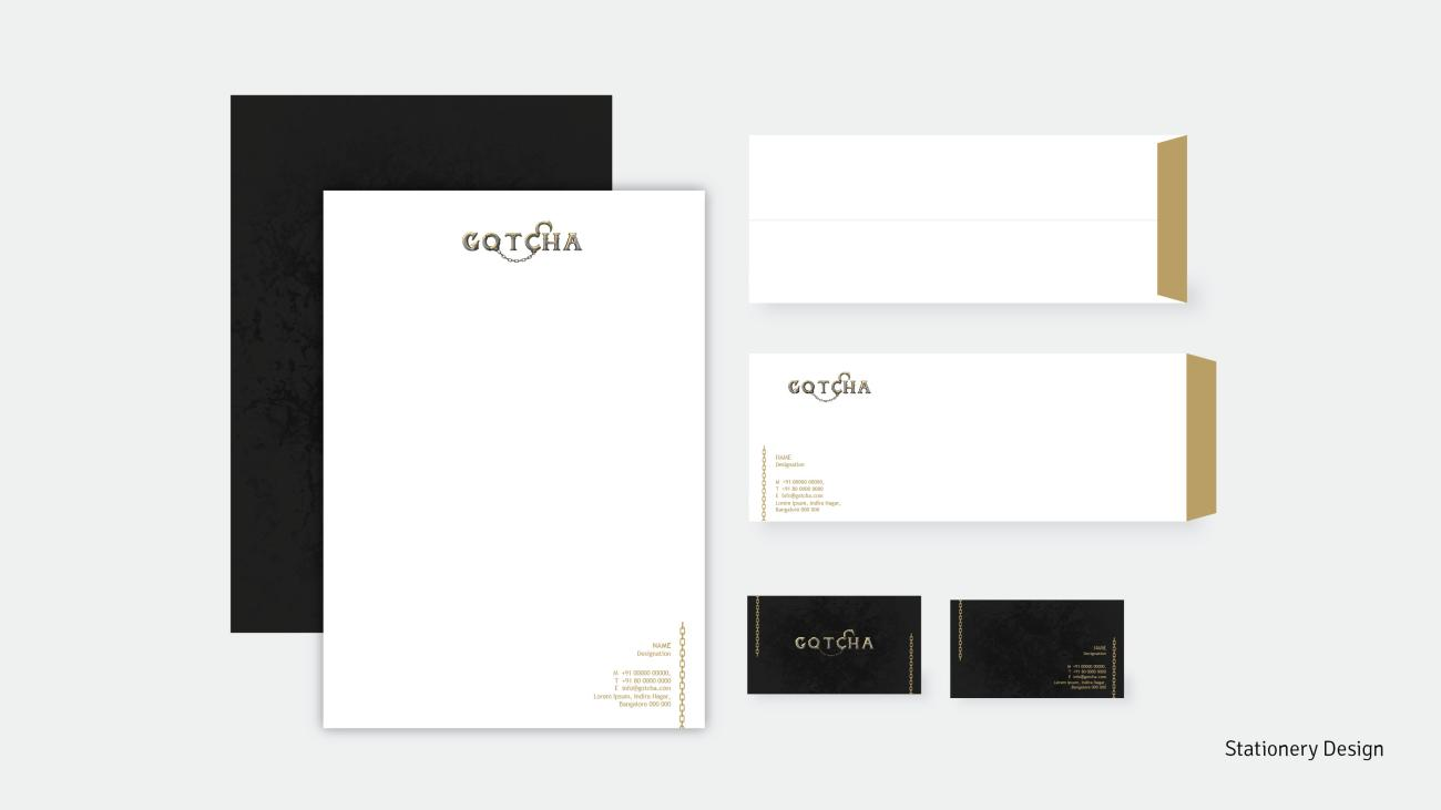 Stationery design as part of the branding for Gotcha