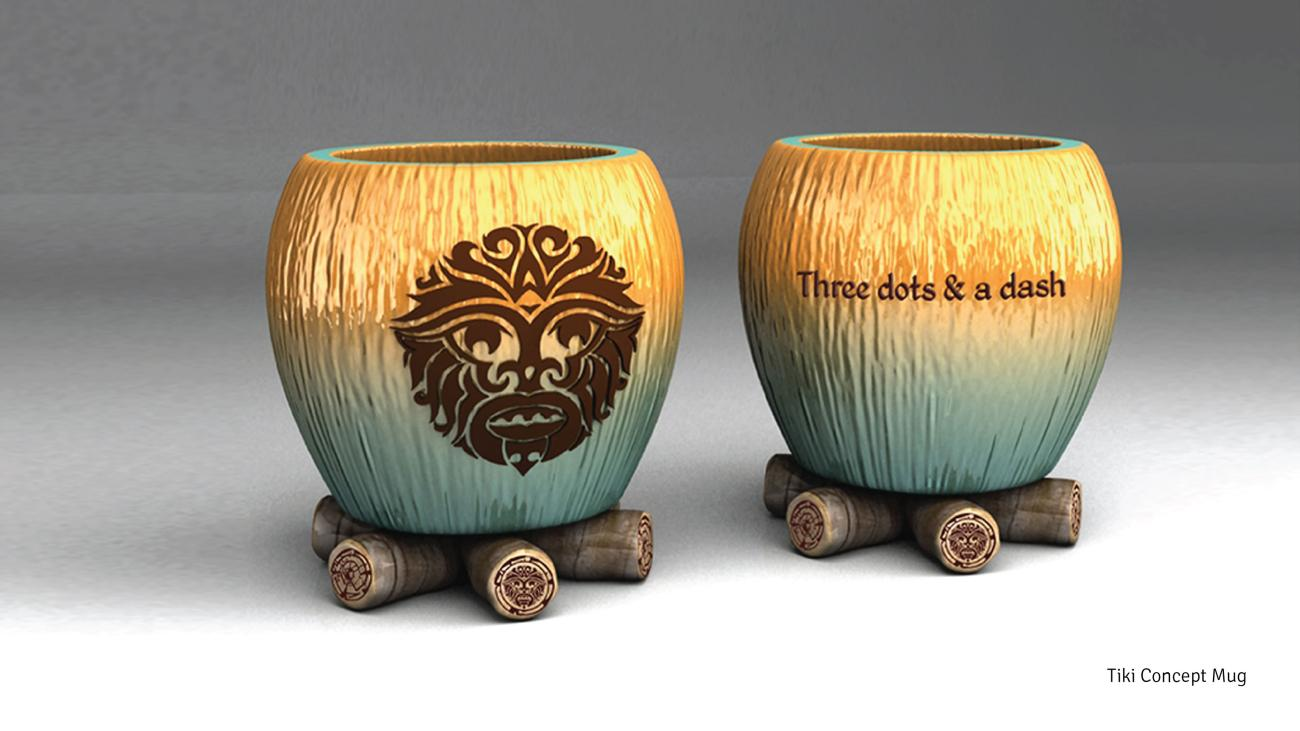 Tiki concept mug as part of the branding for Three dots & a dash