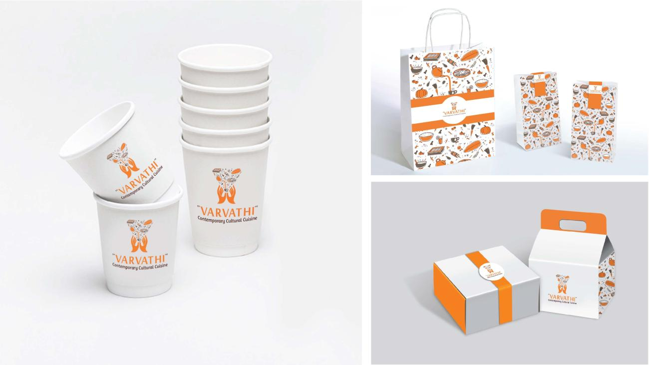 Drinking cups and carry bags as part of the branding for Varvathi